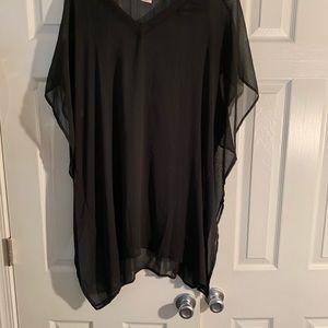 Sheer bathing suit top, Black